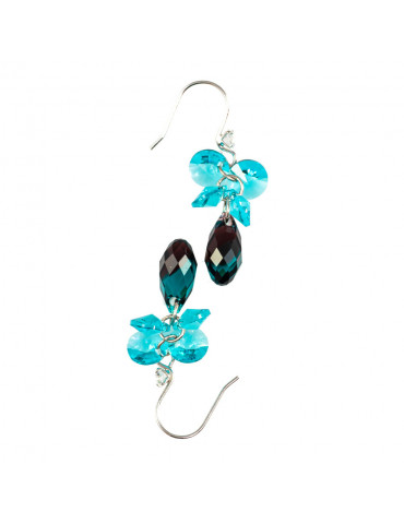 Silver 925 Wire Hook Earrings with Swarovski Crystals