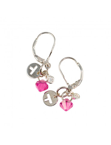 Silver 925 Leverback Earrings with Pink Swarovski Crystals