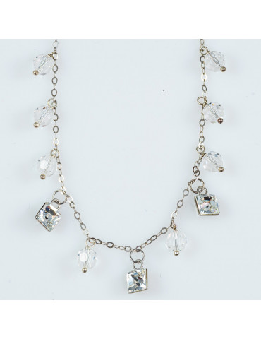 Silver 925 Pendant Necklace with Transparent Swarovski Crystals