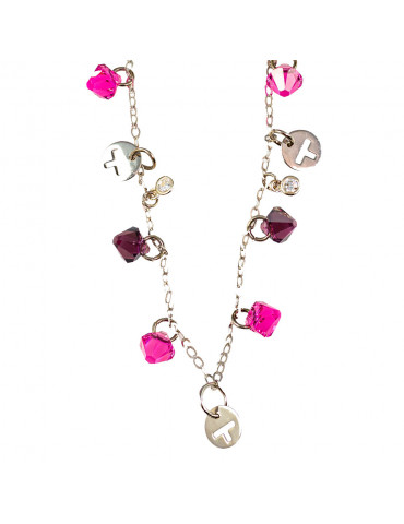 Silver 925 Necklace with Pink and Purple Swarovski Crystals