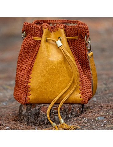 Handmade Knitted Bucket Bag with Eco Leather