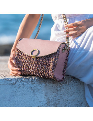 Multicolored Handmade Knitted Bag with Eco Leather Lid